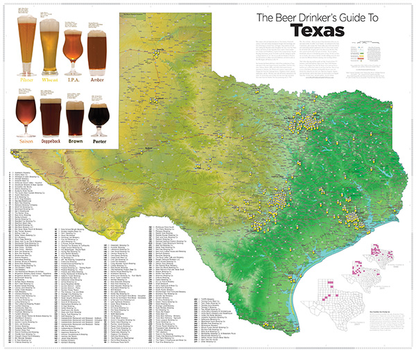 Map Of Texas Breweries.Beer Drinker S Guide To Texas Map Info
